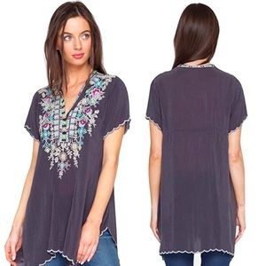 Johnny Was Livana Scalloped Floral Embroider Tunic